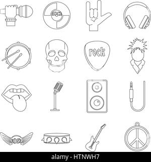 Rock music icons set, outline style - Stock Photo