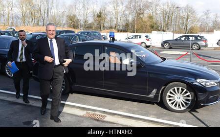 Taufkirchen, Germany. 8th Mar, 2017. Bavarian Minister of the interior Joachim Herrmann (CSU) arrives at the press - Stock Photo