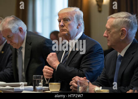 Washington DC, USA 13th March, 2017 US President Donald J Trump (C) holds a meeting with members of his Cabinet - Stock Photo