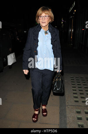 London, UK. Anne Robinson at the CURE3 exhibition private view in aid of The Cure Parkinson's Trust, Bonhams, New Bond Street, London, England, UK, on Monday 13 March 2017. Credit: LANDMARK MEDIA/Alamy Live News Stock Photo