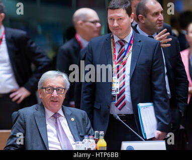 March 10, 2017. Brussels, Belgium: President of the European Commission Jean-Claude Juncker (L) his cabinet chief - Stock Photo