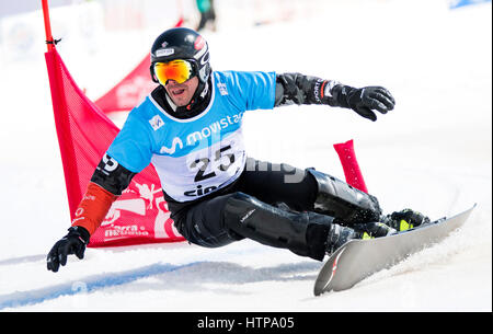 Sierra Nevada, Spain. 16th March, 2017. Jasey Jay Anderson (Canada) during the Quarterfinals of Men's Parallel Giant - Stock Photo