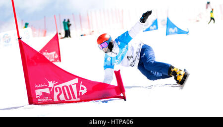 Sierra Nevada, Spain. 16th March, 2017. Vic Wild (Russia) during the Quarterfinals of Men's Parallel Giant Slalom - Stock Photo