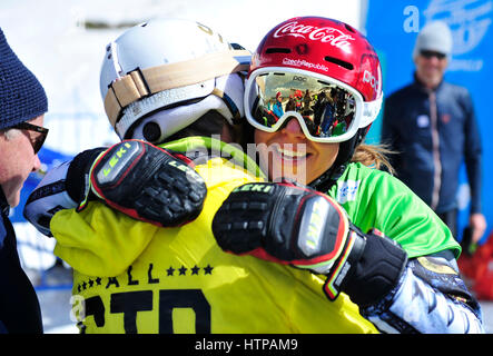 Sierra Nevada, Granada. 16th Mar, 2017. Czech Ester Ledecka receives congratulations from her father Janek Lecdecky - Stock Photo