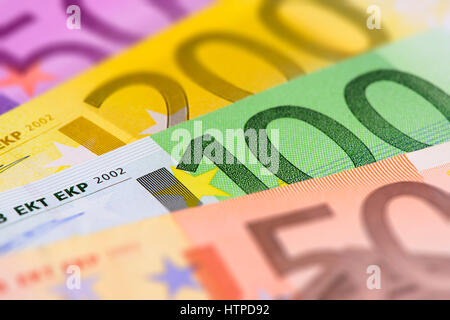 many different Euro banknotes - Stock Photo