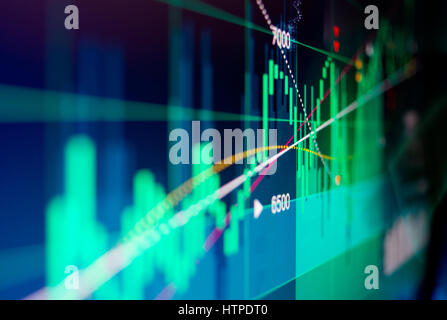 Financial (illustrated) Data displayed on a screen with a shallow depth of field. - Stock Photo