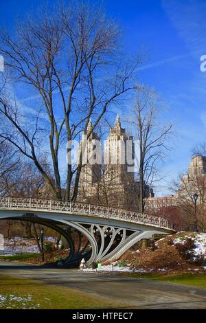 Gothic bridge Central Park with San Remo building in the background on day before Storm Stella. March 13, 2017. - Stock Photo