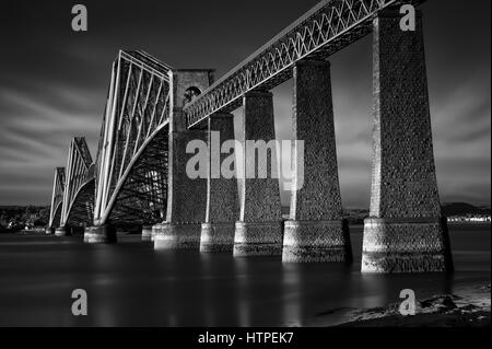 Black & white image of Firth of Forth Rail Bridge in South Queensferry, Edinburgh, Scotland - Stock Photo