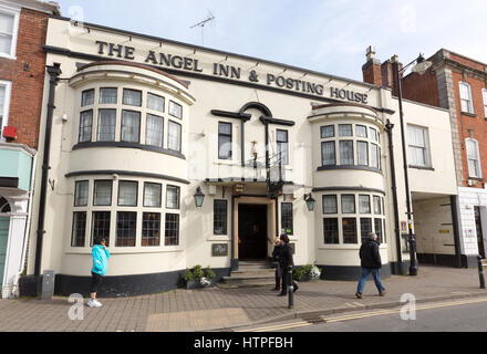 The Angel Inn & Posting House AKA The Angel Hotel, High Street, Pershore, Worcestershire England UK - Stock Photo