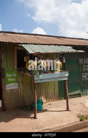 Small fruit and vegetable stand, Kibera slums, Nairobi, Kenya, East Africa - Stock Photo