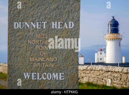 Welcome sign, Dunnet Head, most Northerly point of mainland Britain, Scotland, UK - Stock Photo