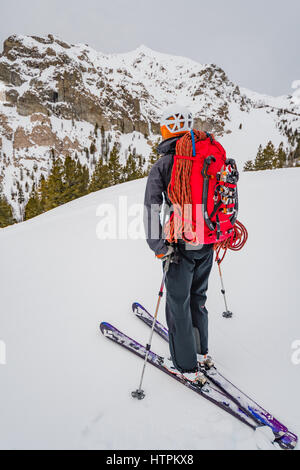 Shane Nelson on approach to Silver Peak ice climbs near Sun Valley Idaho - Stock Photo