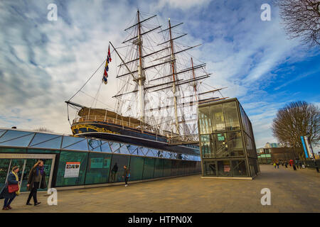 The legendary 19th century sailing ship 'Cutty Sark' a tall ship on public display in Greenwich, United Kingdom. - Stock Photo