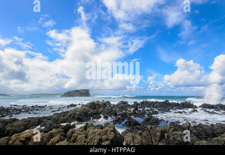 Heavy Seas with large waves at Minnamurra, Illawarra Coast, New South Wales, NSW, Australia - Stock Photo