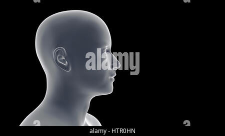 profile of a smiling handsome young Caucasian man  (conceptual 3d illustration on a black background) - Stock Photo