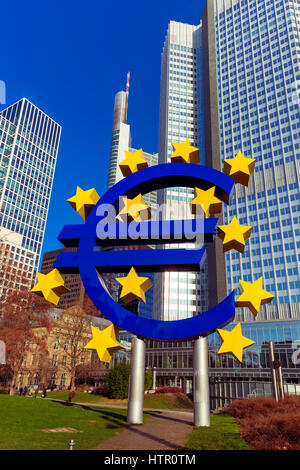 Euro sign in Frankfurt am Main, Germany - Stock Photo