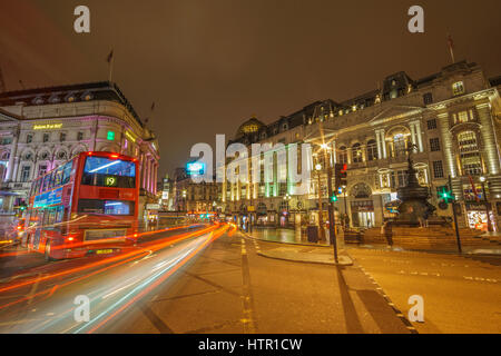 Urban view of london Picadilly Circus at night. long exposure hdr street photography in London, United Kingdom. - Stock Photo