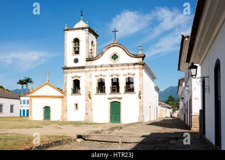Rio de Janeiro, February, 15, 2016 - Church Igreja de Santa Rita de Cassia in Paraty, state Rio de Janeiro, Brazil - Stock Photo