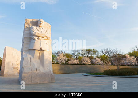 WASHINGTON DC, USA - MARCH 24, 2016: Martin Luther King Jr Memorial during cherry blossom festival in Washington - Stock Photo