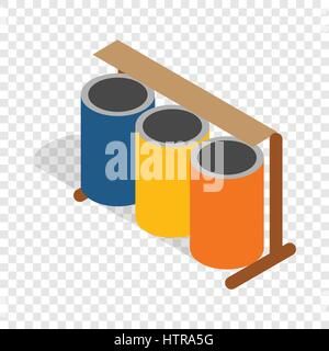 Three colorful selective trash cans isometric icon - Stock Photo