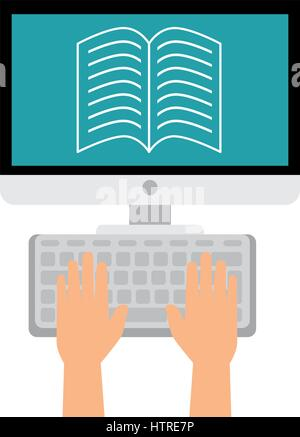 computer desktop with ebook isolated icon - Stock Photo