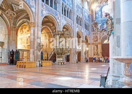PARMA, ITALY - APRIL 24, 2012: The splendid decoration of Cathedral's interior with stone, metal, wooden and painted - Stock Photo