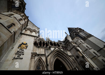 The Royal Courts of Justice, commonly called the Law Courts, is a court building in London, UK which houses both - Stock Photo