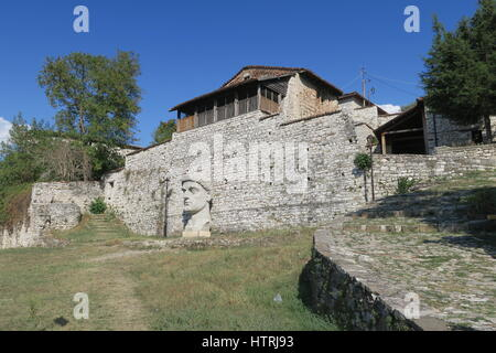 Berat castle is fortress overlooking town of Berat. Giant head of Constantine the Great, 272-337 AD, Roman Emperor - Stock Photo