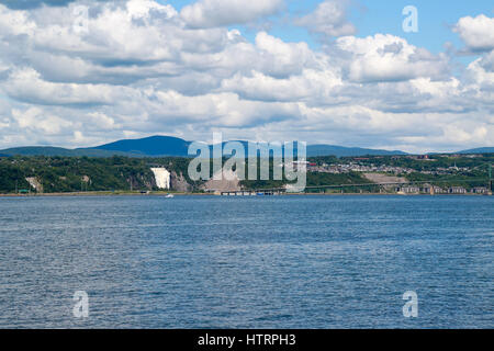 A view of Montmorency Falls from the west end of Île d'Orléans - Stock Photo