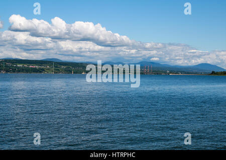 A view of the north shore of the Saint Lawrence River from the west end of Île d'Orléans - Stock Photo