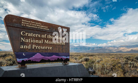 Entry sign at Craters of the Moon National Monument and Preserve, Idaho, USA. - Stock Photo
