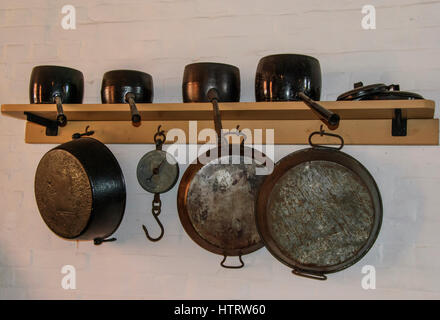 Old pots and pans in Fort nelson Portsmouth possibly Victorian - Stock Photo