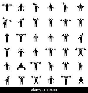 A set of silhouettes of athletes train in the gym, vector illustration. - Stock Photo