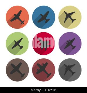 Set of round icons airplanes with a long diagonal shadow, vector illustration. - Stock Photo