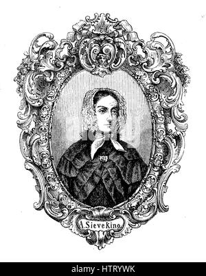 Amalie Wilhelmine Sieveking, 25 July 1794 - 1 April 1859, was a German philanthropist and social activist who founded - Stock Photo