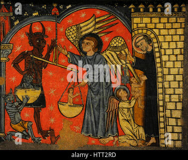 Master of Soriguerola (active late 13th century-early 14th century). Panel of Saint Michael. Detail depicting Saint - Stock Photo