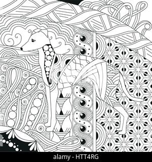 dog zentangle styled with clean lines for coloring book for anti stress, T - shirt design, tattoo and other decorations - Stock Photo