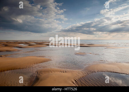 The soon to be dredged Goodwin Sands in the English Channel off the coast of Deal, Kent, UK. - Stock Photo