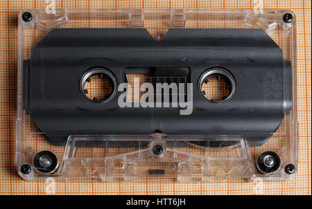 old transparent audio cassette, view from above - Stock Photo