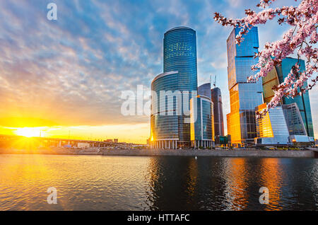 Skyscrapers of Moscow City at spring sunset - Stock Photo