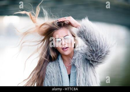 Stylish happy smiling girl - Stock Photo