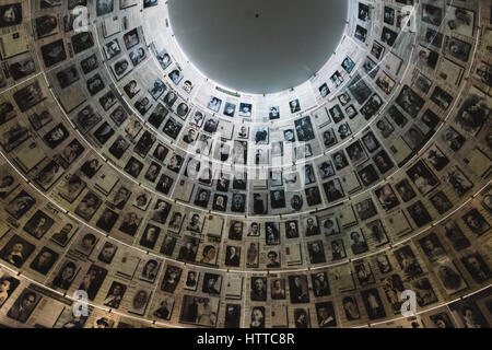 Hall of names at the Yad Vashem Holocaust Memorial in Jerusalem, Israel - Stock Photo