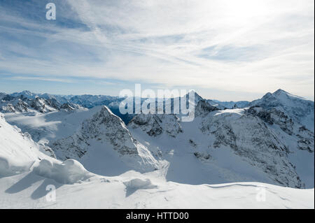 Scenery of snow covered mountains valley Titlis, Engelberg, Switzerland - Stock Photo