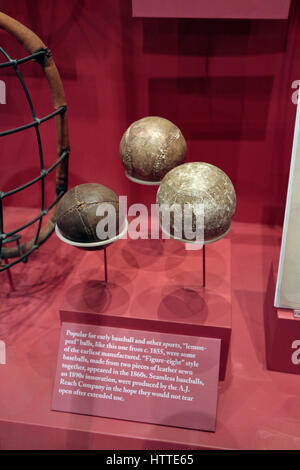 Early baseball designs from 1855 to 1890s, National Baseball Hall of Fame and Museum , Cooperstown, United States. - Stock Photo