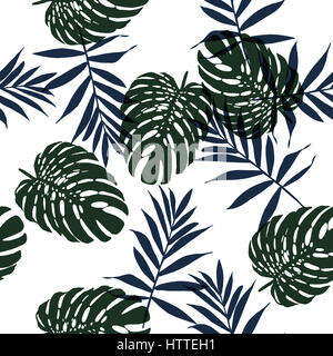 Seamless floral pattern with beautiful monstera and palm leaves. Jungle foliage on white background. Textile design. - Stock Photo