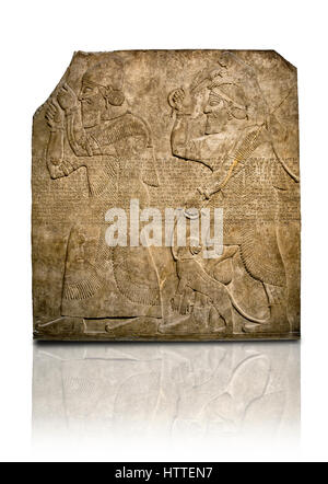 Assyrian relief sculpture panel  of Tribute bearers, the first one has a turban from north-west Syria and raises - Stock Photo