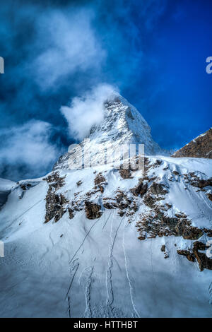 The icon of Switzerland, the Matterhorn, in Zermatt. It may be the highest mountain but it is certainly one of the - Stock Photo
