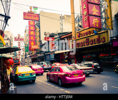 Taxis in Chinatown. Bangkok, Thailand. - Stock Photo