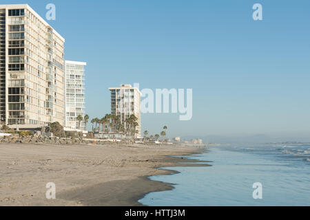 Modern highrise condos on famous Coronado beach near San Diego, CA - Stock Photo