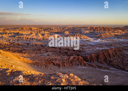 Valle de la Luna landscape at sunset in San Pedro de Atacama, Chile - Stock Photo